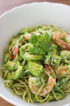 Avocado & shrimp pasta