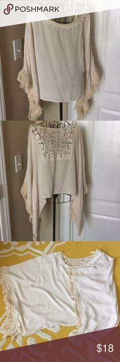 Chelsea & Violet Kimono Blouse w Fringe Trim, S Kimono-style top in natural from Chelsea & Violet. Sleeves are trimmed with fringe. I only wore this top 1-2 times as the color does not look good on me. Top has been dry-cleaned and is ready to wear. Size small. Chelsea & Violet Tops Blouses