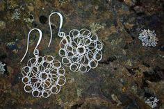 Delicate Silver Wire Crochet Earrings by nZuriArtDesigns on Etsy