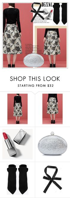 """""""Jacquard Pleated Skirt"""" by duma-duma ❤ liked on Polyvore featuring Burberry, POL and Yves Saint Laurent"""