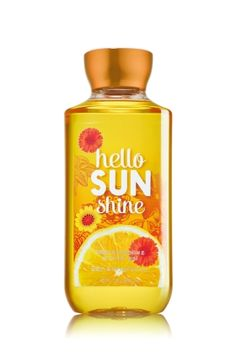Hello Sunshine Shower Gel - Bath and Body Works -- Nature's sunniest scents sparkle in Meyer lemon, luscious tangerine  sunflower petals. Top Notes: Watery Tangerine, Fuji Apple, Juicy Green Pear Mid Notes: Pink Peony, Red Currant, Peach Blossom, Sheer Jasmine Dry Notes: White Cedar, Cotton Musk, Treemoss Bath Body Works, Bath N Body, Bath And Body Works Perfume, Perfume Body Spray, Bath And Bodyworks, Smell Good, Shower Gel, Shower Soap, Body Wash
