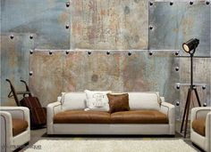 Our Metal Sheets Wall Mural is the perfect decor piece for anyone who's looking to add an industrial feel to their home or office. Metal Vintage, Vintage Walls, Metal Wall Panel, Metal Walls, Interior Design Colleges, Interior Design Living Room, Faux Tin Ceiling Tiles, Old Brick Wall, Funky Home Decor