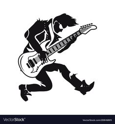 Guitarist playing songs on vector image on VectorStock Music Drawings, Sticker Ideas, Stark, Single Image, Adobe Illustrator, Rock And Roll, Vector Free, Pdf, Leather Jacket