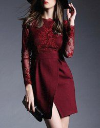 Elegant Lace Spliced Round Collar Long Sleeve Dress For Women (WINE RED,XL)   Sammydress.com Mobile