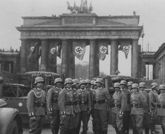 The unit was named the Brandenburg Regiment because initially it was based in the town of Brandenburg an der Havel. (Photo shows German troops in front of the Brandenburg Gate, Berlin.)
