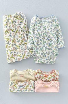 a8b38de28b87 Baby Girls  Stripe  amp  Floral Long Sleeve Bodysuits Newborn Outfits