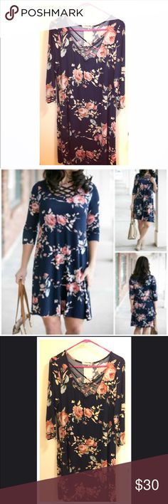 The Ella dress in Navy Floral - size XL The Ella in Navy Floral - size: XL - Brand NEW with tags!! Bought from Jenny Boston Boutique. So soft, comfortable, and pretty!! 💗 12 Pm By Mon Ami Dresses