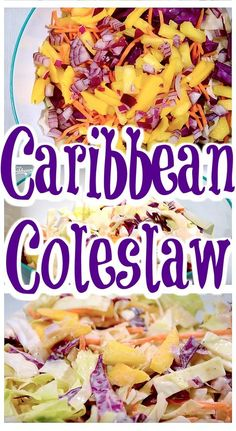 Get a taste of the islands with this perfect side for your summer bbq. Why not spice up the side dish options at your next summertime BBQ with a delicious Caribbean coleslaw recipe that'll have guests begging for the recipe? Caribbean Coleslaw Recipe, Caribbean Recipes, Jamaican Dishes, Jamaican Recipes, Vegetarian Recipes, Cooking Recipes, Healthy Recipes, Cooking Corn, Gastronomia
