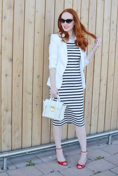 858d7af8373d nautical summer outfit  Breton stripe dress with white blazer Striped Dress  Outfit