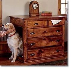 Very creative for an indoor dog house. Hmmm, turn a old dresser into a dog house.I likee Canis, Crate Decor, Diy Dog Crate, Dog Crate Table, Dog Crate Cover, Crate Bed, Dog Cages, Rabbit Cages, Dog Furniture