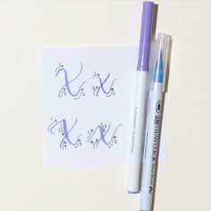 """Day 24 of the @surelysimplechallenge #simplealphabets #simplealphabets_x  I will be showing you 2 versions of how I write an uppercase """"X"""" & lowercase """"x."""" I used Crayola SuperTips and Zig Kuretake Real Brush Pens! Stay tuned as I will be doing the entire alphabet for the month of June!  Please feel free to ask if you have any questions!  #lettersbyshells"""