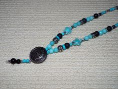 Blue Beaded Turquoise with Vintage Button Necklace Lariat.  Unique in every way.  -Turquoise by Willows3Creations