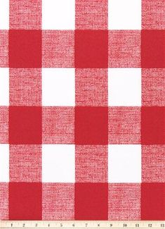 Outdoor or Indoor Red and White Check Fabric by the Yard Easy Care Decorator Red Outdoor Upholstery