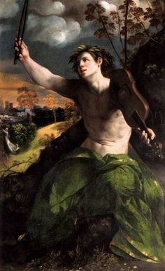 """Dosso Dossi, painter. Apollo by Giovanni di Niccolo Luteri. Credit information by Linda Pelsoh,my loving genius friend. She added that the original spelling is """"Apolo""""."""