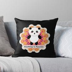 Motivational Affirmations, Orange Throw Pillows, Anything Is Possible, I Deserve, Panda, Original Art, Positivity, Kawaii, Happy