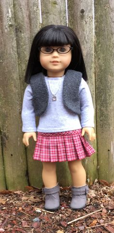 18 inch doll clothes:  plaid skirt tee and by GumbieCatDollClothes