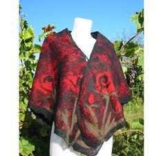 Felt Wool Blouse,Nuno Felt Poncho,Nuno Felt Shawl,Silk Wool Felt Shawl, Nuno Felt Poncho Blouse,Red Rose Poncho,Handmade, OOAK