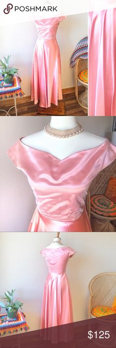 True Vintage💖50s Satin Bubblegum Princess Gown! Hands down one of the most beautiful vintage pieces Ive seen. Photos dont do this justice! 50's pink gown in near flawless condition. The way this dress moves when you walk is uh-mazing! Off the shoulder top with mesh overlay. Empire waisted satin skirt, length just above ankle. Side zipper. A few marks on waist & underarms; one teeny seam tear (see photos) nothing major. Otherwise an absolute stunner. Fits like a glove on 6/8 mannequin. Made…