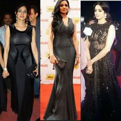 @sridevi.kapoor black gowns at #filmfare awards ❤  #sridevi #sridevikapoor #fashionicon #fashion #blackgowns #bollywoodactress #bollywood #lastempressofbollywood