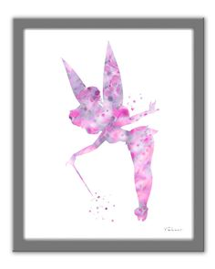 Pink Tinkerbell art print Pink Tinkerbell by FluidDiamondArt