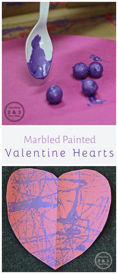 Marble Painted Valentine Hearts - A Fun Fine Motor Activity for Preschoolers - Teaching 2 and 3 Year Olds