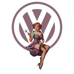 Volkswagen Pin-Up Wrenching Wanda (light purple) by Sarah Rulon