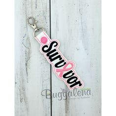 In the Hoop Survivor Snap Tab Key Fob Embroidery Design
