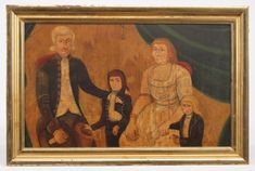 """American School, 19th c. family portrait. Signed """"Silas Rhykill, 1803"""". Oil on artist board. Darkened varnish overcoat. Gilded frame. Found in Maine. 11 1/2"""" x 18 1/2""""."""