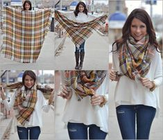 How do you tie your blanket scarf? There are a few different ways to tie them, here are our faves!  Colors still available online! Orange: http://www.apricotlaneboutique.com/shop-all/blanket-scarf-orange-1/?ac=jacksonville Black & Red: http://www.apricotlaneboutique.com/shop-all/blanket-scarf-black-red-1/?ac=jacksonville Additional colors (one photo'd):http://www.apricotlaneboutique.com/accessories/blanket-scarf-4/?ac=jacksonville