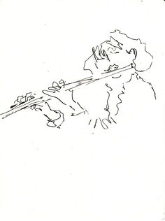 Flute - Martina Wald Jazz Painting, Scribble Art, Jazz Club, Abstract Line Art, Gesture Drawing, Portrait Sketches, Quick Sketch, Urban Sketching, Art Lessons