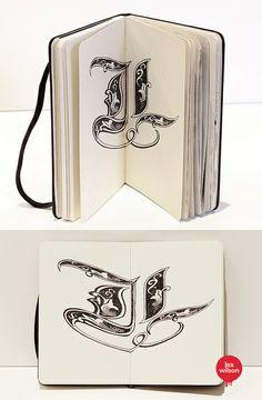 Moleskine illustration #59: Anamorphic Illustration: 'L'