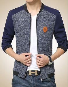 Men's Mixed Fabric Zipper Jacket