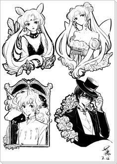 Black Lady, Princess Serenity, Helios and Tuxedo Kamen