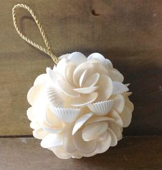 Seashell Bulb Ornament Seashells handmade into this gorgeous shell flower ball. All Natural white shells. A Beautiful Ornament to treasure. Small Size -between Crafts For Teens To Make, Crafts To Sell, Diy And Crafts, Arts And Crafts, Cork Crafts, Kids Diy, Bottle Crafts, Paper Crafts, Seashell Art