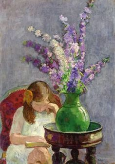 Girl with Flowers ~ Henri Lebasque ~ (French: 1865-1937)