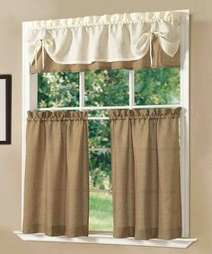 Look at this #zulilyfind! Gold Sunrise Kitchen Curtain Set #zulilyfinds