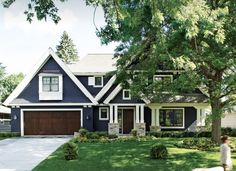 John Kraemer & Sons - Gallery of Custom Homes Navy House Exterior, Garage Exterior, Modern Farmhouse Exterior, Exterior Homes, Exterior Colors, Exterior Paint, Dark Blue Houses, Navy Houses, Outside House Colors