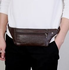 Money Phone Leather Small Men Waist Belt Bag