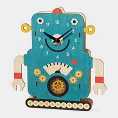 Robot Pendulum Clock | MoMAstore.org Mimic look on my wooden based robot, only use metal gears and hardware.
