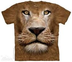 Big Face lion t-shirt by The Mountain® Big Animals, Animals For Kids, Chemise Lion, African Royalty, Lion Shirt, Big Face, Mountain Lion, 3d T Shirts, Animal Heads