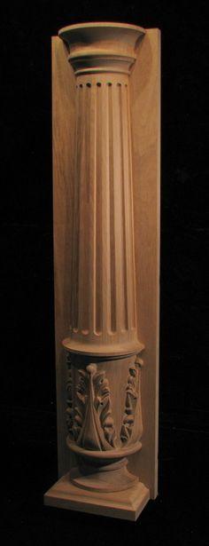 Column - Half Round Pilaster, Fluted Column, Acanthus Pedestal
