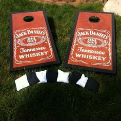 Jack Daniels custom made Cornhole boards. $350.00, via Etsy. Like our Facebook page! https://www.facebook.com/pages/Rustic-Farmhouse-Decor/636679889706127