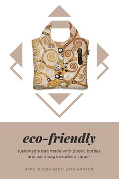 Beautifully designed eco-friendly bag made from plastic bottles.  #earthday #ecofriendly #ecoconscious #zipperbag #bagwithzipper #zipperbags #reusablebag #reusablebags #foldablebag #foldablebags