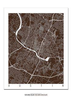 AUSTIN Map Art Print / Texas Poster / Austin Wall by CityMapArt