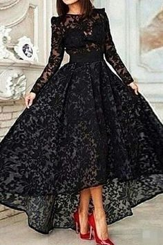 long prom dresses 2016 on sale at reasonable prices, buy Hot Sale Black Lace Long Prom Dresses 2016 Long Sleeve Vestidos Lace Hi Lo Party Gown Special Occasion Dresses Evening Dress from mobile site on Aliexpress Now! Prom Dresses 2015, Prom Dresses For Teens, Prom Dresses Long With Sleeves, Cheap Prom Dresses, Dress Long, Prom Gowns, Formal Dresses, Bridesmaid Dresses, Gowns 2017