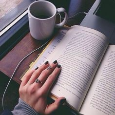 #reading #coffee #tea #nails #headphones #music #train #bus