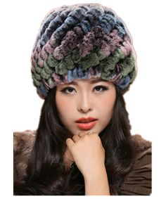 21e22e4c Aliexpress.com : Buy H371 Winter genuine rex rabbit fur knitted hat  Colorful pineapple all match Warm autumn beanies women, from Reliable beanie  women ...