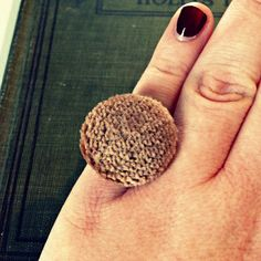 Vintage Button Ring - Shag Carpet - by thelibraryfaerie, $5.99