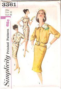 Vintage1950's Mad Men Wiggle dress sewing pattern