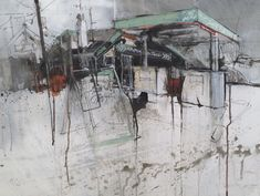 The painter Pete Monaghan tells us about his project involving painting scenes of derelict filling stations in Wales Abstract Landscape, Landscape Paintings, Abstract Art, Landscapes, Smash Book, Blog Art, Art Alevel, Building Painting, Watercolor Architecture